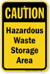 Caution Hazardous Waste Storage Area Sign