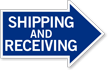 Shipping and Receiving, Right Die-Cut Directional Sign