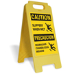 Bilingual Caution Slippery When Wet Free-Standing Sign