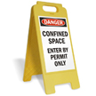 Danger Confined Space Enter By Permit Floor Sign