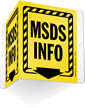 MSDS Info with Down Arrow Sign