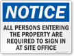 All Persons Entering Required To Sign In Sign