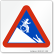 Wheelchair Man Rolling into Alligator Safety Sign Symbol