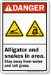 Alligator Snakes In Area Stay Away Danger Sign
