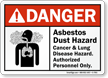 Asbestos Dust Hazard Cancer & Lung Hazard Sign
