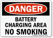 Danger Battery Charging Smoking Sign