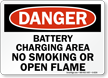 Danger Battery Charging Smoking Flame Sign
