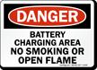 Danger Battery Charging Smoking Flame Sign