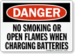 Danger Smoking Flames Charging Batteries Sign