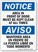 Bilingual Area In Front Of Door Sign