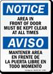 Bilingual Area In Front Of Door Sign