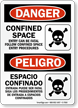 Bilingual Confined Space OSHA Danger Sign