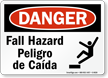 OSHA Bilingual Fall Hazard Risco De Queda Sign