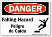 OSHA Bilingual Danger Falling Hazard Sign