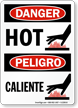 Hot / Caliente Danger Bilingual Sign