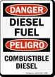 Bilingual Danger Diesel Fuel Sign