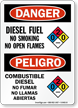 Diesel Fuel No Smoking Open Flames Bilingual Sign