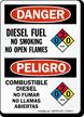 Diesel Fuel No Smoking Open Flames Bilingual Sign