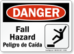 Bilingual Fall Hazard OSHA Danger Sign