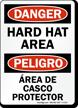 Danger Hard Hat Area Bilingual Sign
