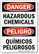 Bilingual Danger Hazardous Chemicals Sign