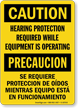 Hearing Protection Required While Equipment Operating Bilingual Sign