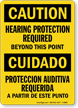 Caution Bilingual Hearing Protection Required Sign