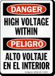 Danger Bilingual High Voltage Within Sign