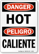 Danger Hot Bilingual Sign