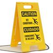 Condiciones De Heladas, Caution Icy Conditions Standing Sign