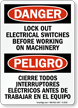 Lockout Electrical Switches Before Working Bilingual Sign