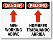 Bilingual Danger Men Working Above Sign With Arrow