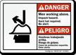 Bilingual Men Working Above Impact Hazard Sign