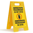 Bilingual Do Not Enter Floor Standing Sign