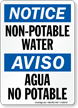 Non-Potable Water/ Agua No Potable Bilingual Sign