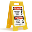 Bilingual Overhead Power Lines Danger Sign