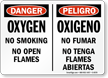 Bilingual Danger Oxygen No Smoking Flames Sign