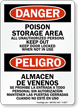 Bilingual Poison Storage Area Sign