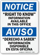 Bilingual Right To Know Information Sign