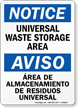 Bilingual Universal Waste Storage Area Notice Sign