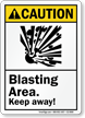 Blasting Area Keep Away ANSI Caution Sign