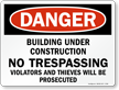 Building Under Construction Danger Sign