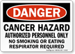 Danger Cancer Hazard Respirator Required Sign