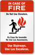 In-Case Of Fire Do Not Use Elevators Sign