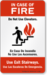 Bilingual In Case Of Fire Stair Symbol Sign