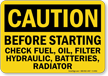 Check Fuel Oil Filter Sign