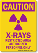 Caution X-Rays Area Sign