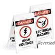 Danger High Voltage Reversible Fold-Ups Floor Sign