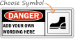 Custom Danger Wear Safety Shoes Symbol Sign