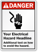 Personalized ANSI Danger Electrical Hazard Sign